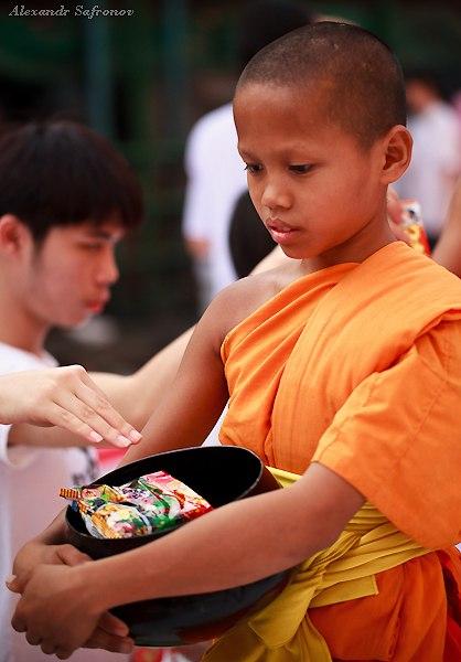Массовое подаяние монахам в Бангкоке, фоторепортаж (36)
