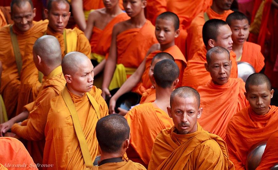 Массовое подаяние монахам в Бангкоке, фоторепортаж (20)