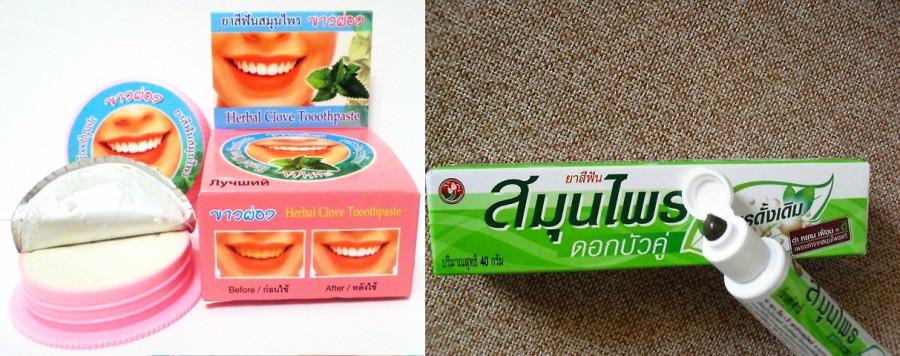 зубная паста Таиланд коричневая и белая