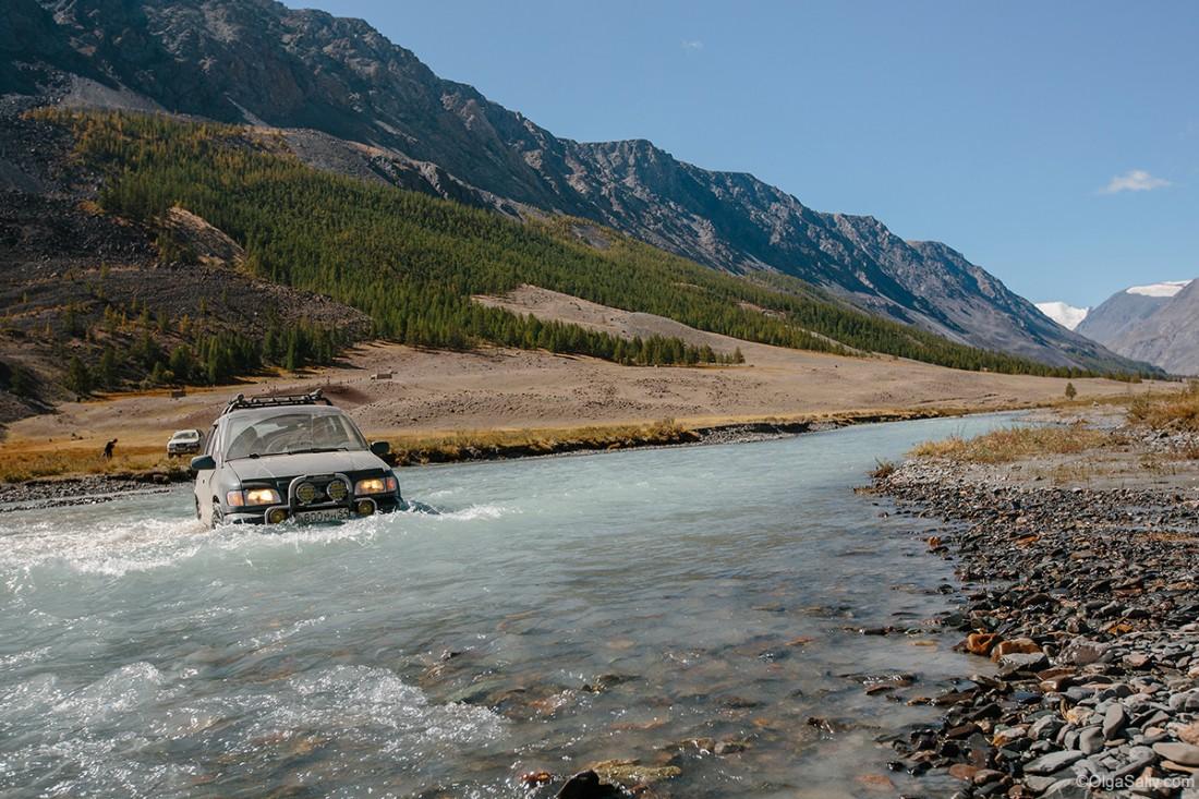 Дороги Алтай брод через реку
