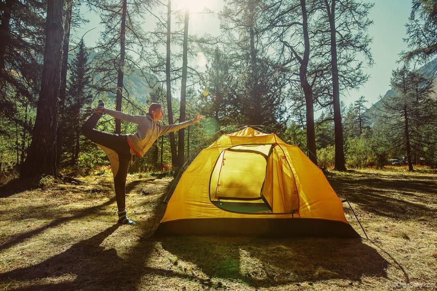 УТренняя йога в горах Алтая