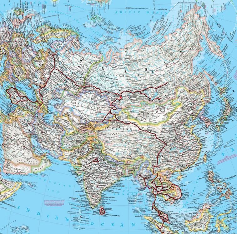 Карта путешествий Дмитрия и Нины Ларионовых