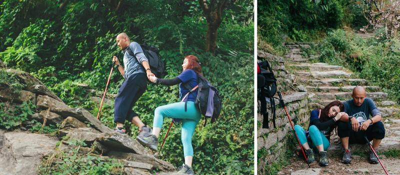 трек к Пун Хиллу в Гималаях, каменные ступени