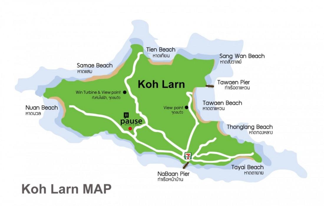 Карта острова Ко Лан, Паттайя