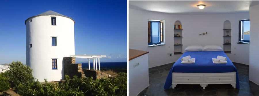 Windmill by the sea in Tinos снять комнату в мельнице Греция