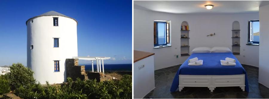 Windmill by the sea in Tinos снять комнату в мельнице Греция