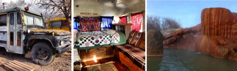 ПОжить в старом автобусе возле горячих источников в США