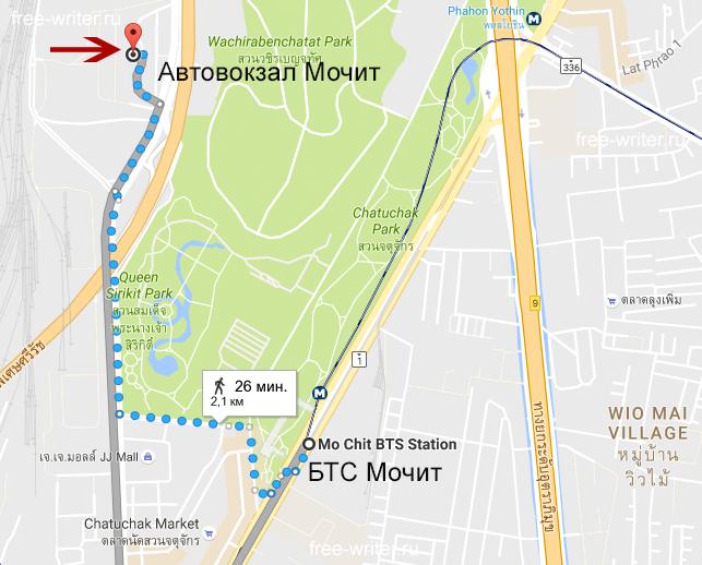 Как добраться до Мочита пешком