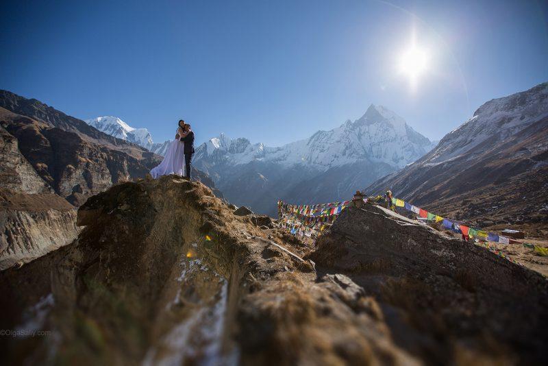 Свадебная фотосессия в Гималаях на высоте 4130