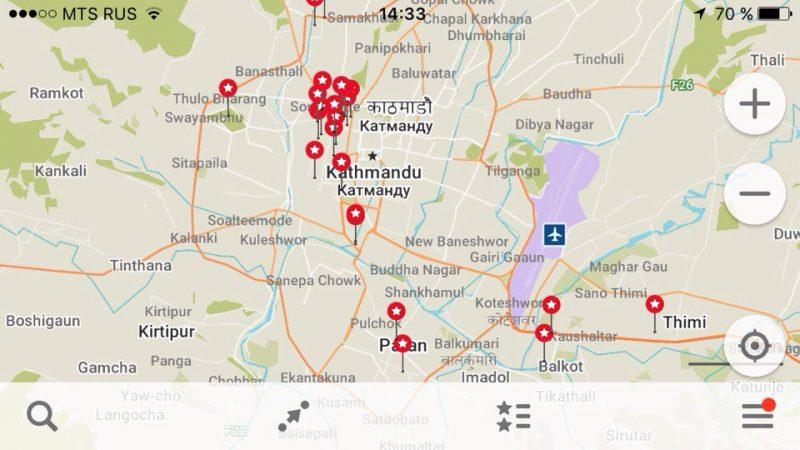 карта Непала Maps.me