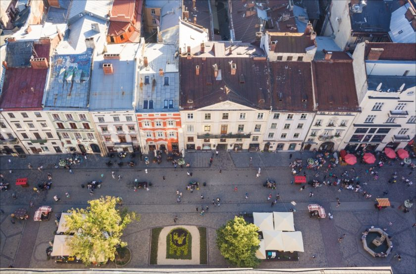 Львов Площадь-Рынок с высоты
