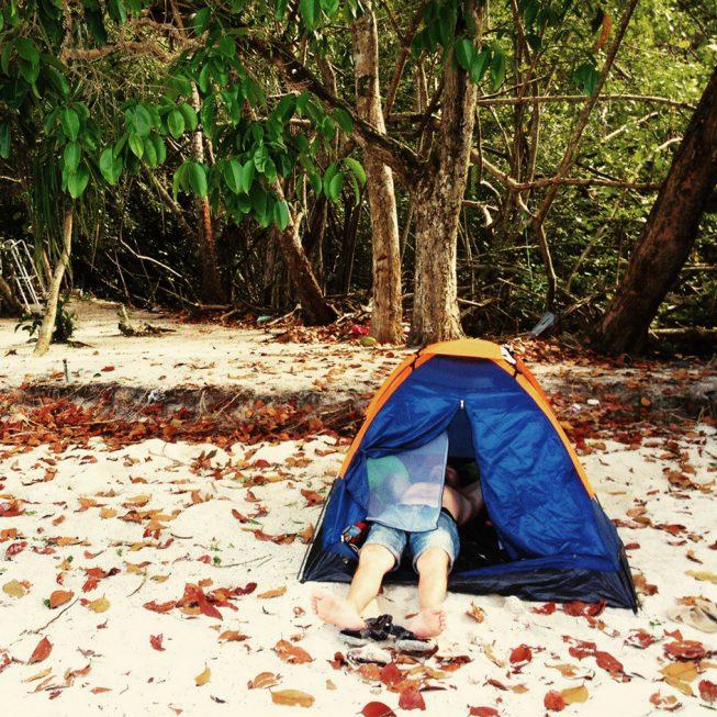 Палатка на пляже Джоржтауна