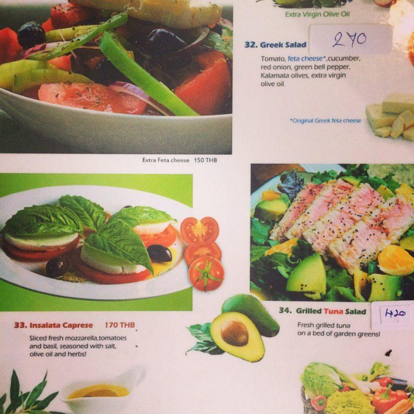 Греческая еда на Самуи, фото меню