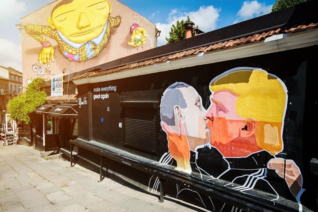 Поцелуй Путина и Трампа, Вильнюс