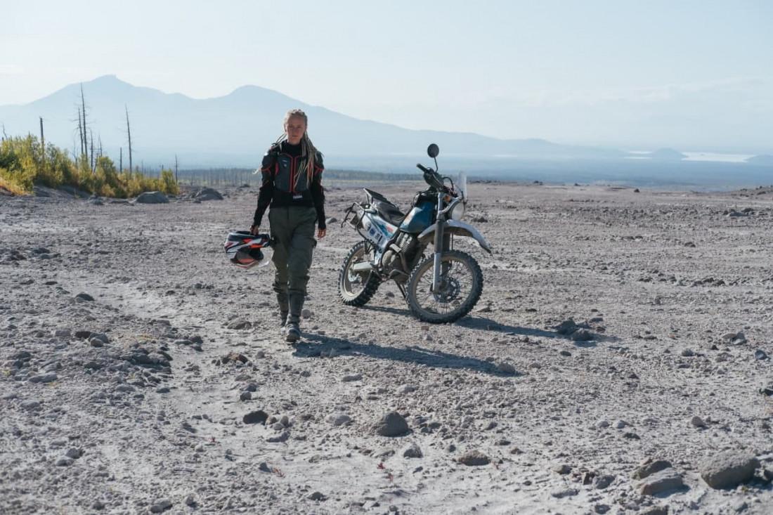 Вулкан Шивелуч на мотоцикле